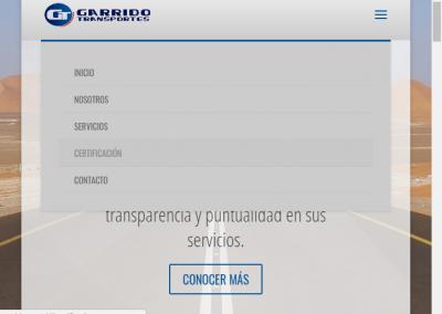 "Sitio web – ""Transportes Garrido"", Iquique"